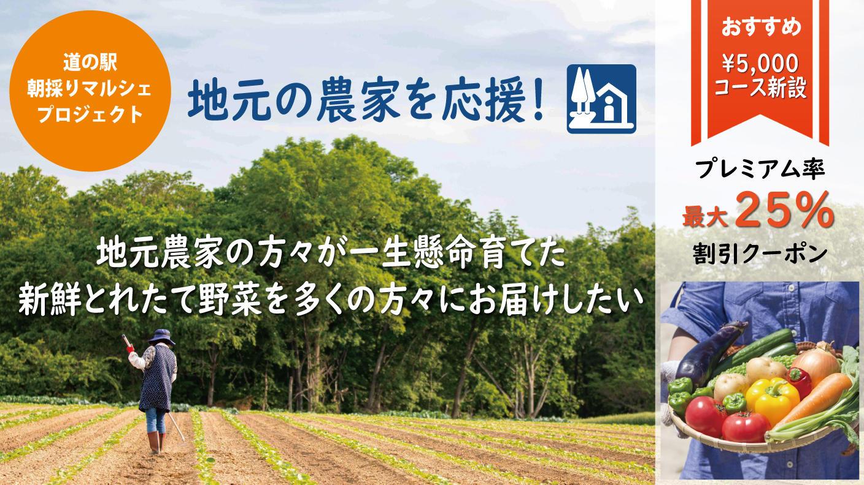 クラウドファンディングプロジェクト:再開:道の駅と地元農家を応援!朝採野菜を全国へ、直売ECプロジェクト