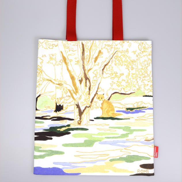 「南三陸ミシン工房」縫製 プリントトートバッグ 「わたなべろみ 作 / 森を守る動物たち」