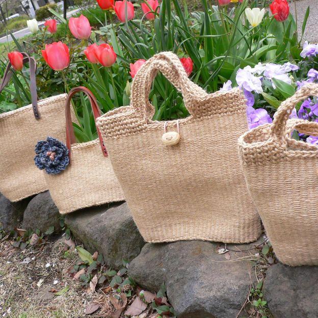 【オーダー】世界で一つだけの手織り麻ひもバッグ制作 中(送料無料)