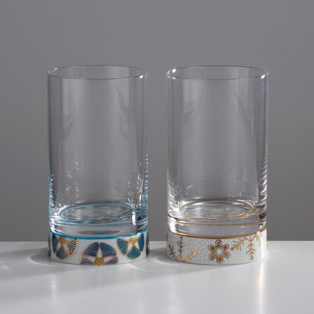 ペアタンブラーグラス 清花文・白粒六花