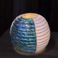 【CF限定・海風景の提灯】引箔の五丸提灯・Mサイズ(卓上楕円型・直径15センチ程度、高さ15センチ程度)