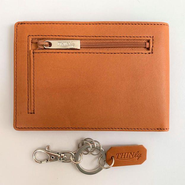 【クラファン特別セット】薄い財布+キーホルダー付(キャメル)