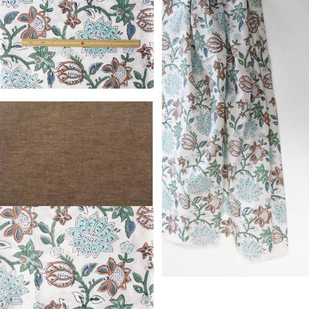 ジパン(柄89・白地にモスグリーンと薄茶で描かれた大きな花唐草とココア色のコンビネーション)とカタログのセット